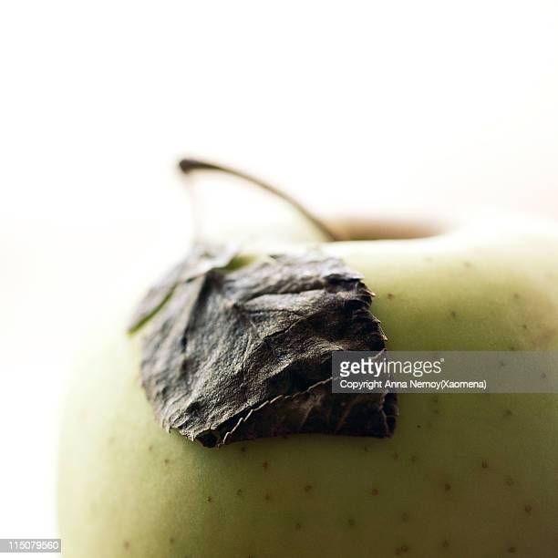 Macro shot of apple with leaf