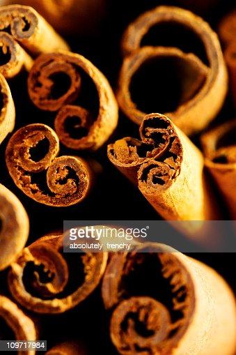 Macro Shot of Cinnamon Sticks in a Pile : Stock Photo