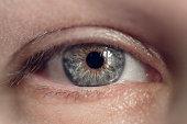 macro shot of woman's eye