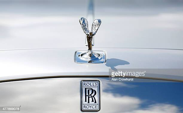 A macro view of a Rolls Royce's bonnet ornament and badge during Royal Ascot 2015 at Ascot racecourse on June 19 2015 in Ascot England