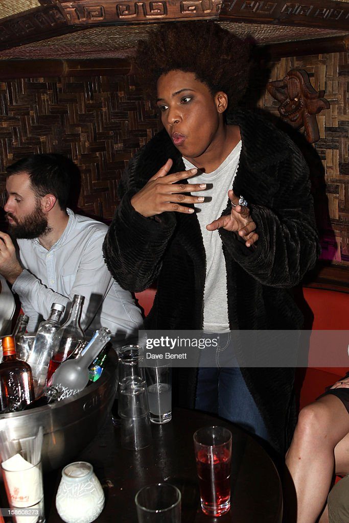 Macy Gray attends a party where she was presented with a large cake made in the form of books with 'You Are the Sunshine of My Life' at The Mahiki Club in London's West End after a gig at Koko's in Camden on on December 20, 2012 in London, England.