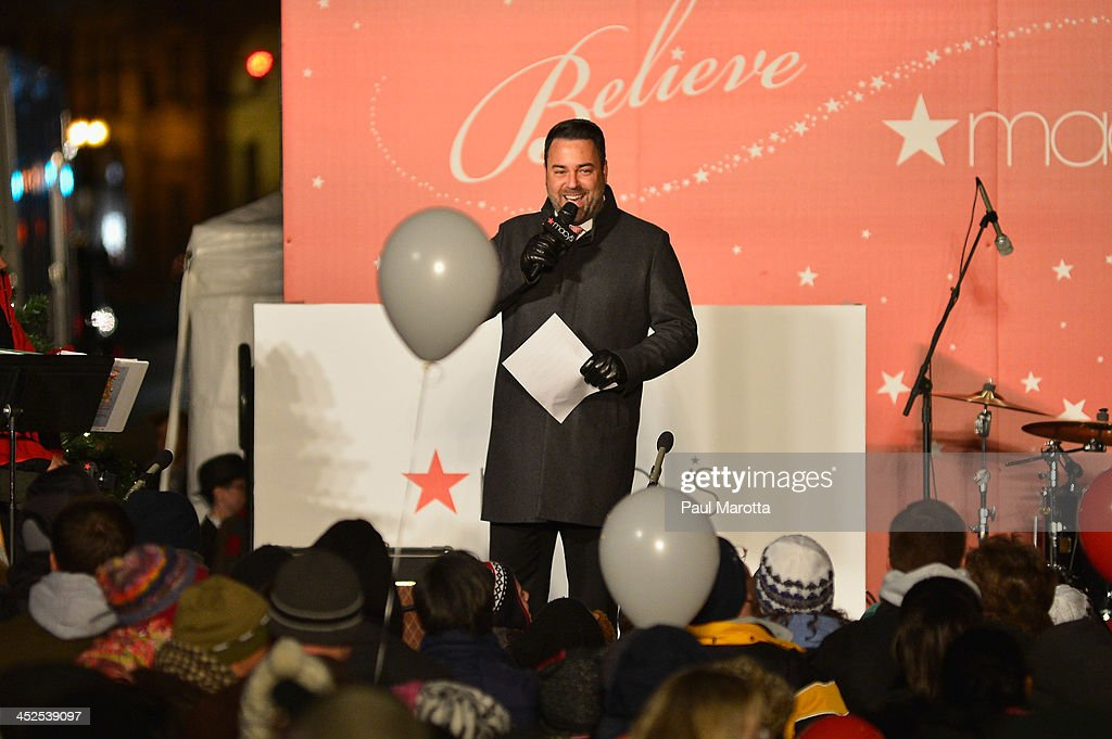 Macy's Boston Store Manager <a gi-track='captionPersonalityLinkClicked' href=/galleries/search?phrase=Craig+Davis&family=editorial&specificpeople=2109761 ng-click='$event.stopPropagation()'>Craig Davis</a> attends Macy's Downtown Crossing 2013 Window Unveiling And Christmas Tree Lighting at Macy's Downtown Crossing on November 29, 2013 in Boston, Massachusetts.
