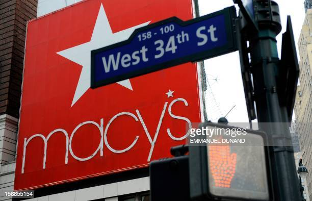 Macy's department store's logo stands at the corner of Broadway Avenue and West 34th street in New York January 8 2009 US department chain Macy's...