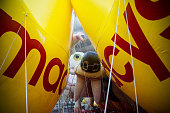 Macy's float used in the Macy's Thanksgiving Day Parade are seen as they are inflated on November 25 2015 in New York City The 89th Annual Macy's...