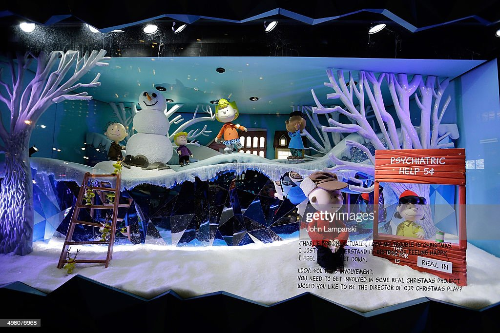 Macy's holiday windows are unveiled during Macy's presents 'It's The Great Window Unveiling, Charlie Brown' at Macy's Herald Square on November 20, 2015 in New York City.