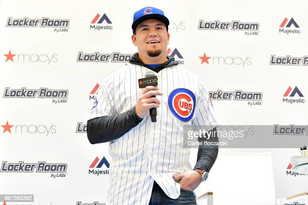 Macy's Locker Room By Lids and Majestic welcome Chicago Cubs' Kyle Schwarber to celebrate start at 2017 baseball season on April 11 2017 in Chicago...