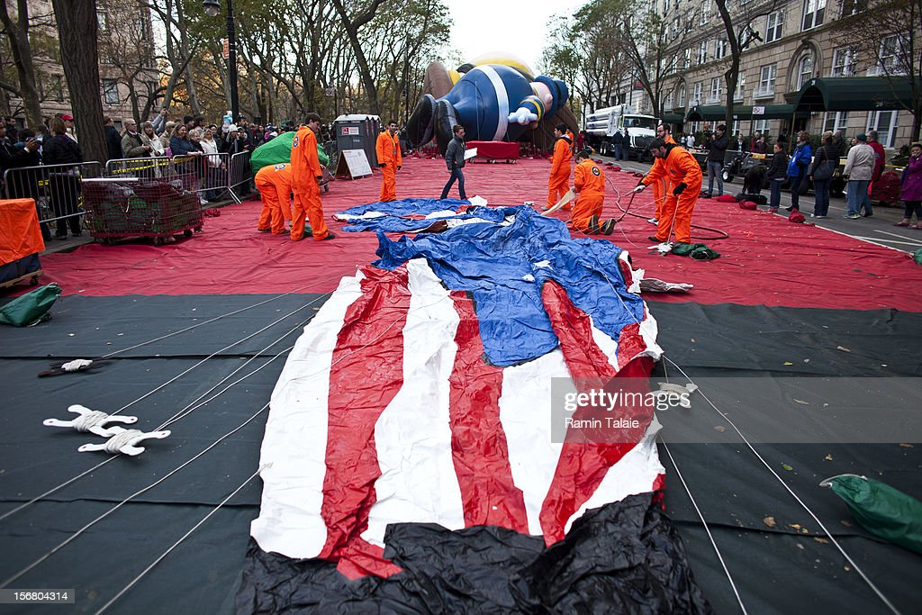 Macy's Thanksgiving Day Parade staff inflate an Uncle Sam balloon in Manhattan's Upper West Side on November 21, 2012 in New York City. The 86th annual event is the second oldest Thanksgiving Day parade in the U.S.