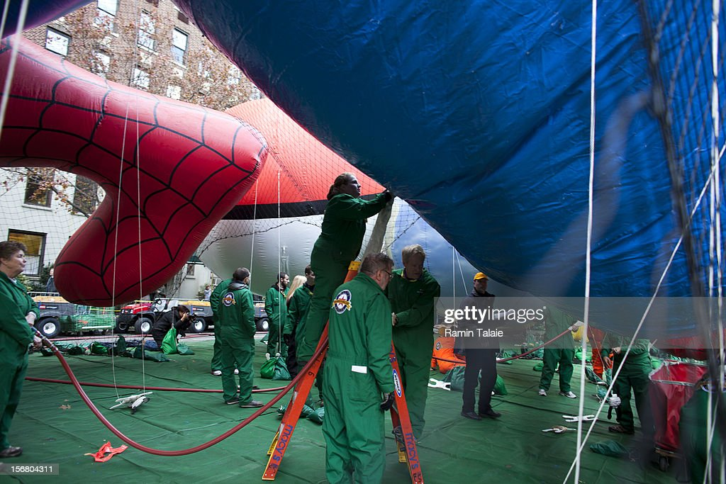 Macy's Thanksgiving Day Parade staff inflate balloons in Manhattan's Upper West Side on November 21, 2012 in New York City. The 86th annual event is the second oldest Thanksgiving Day parade in the U.S.