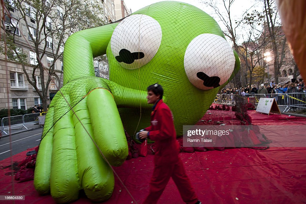 Macy's Thanksgiving Day Parade staff inflate the Kermit the Frog balloon in Manhattan's Upper West Side on November 21, 2012 in New York City. The 86th annual event is the second oldest Thanksgiving Day parade in the U.S.