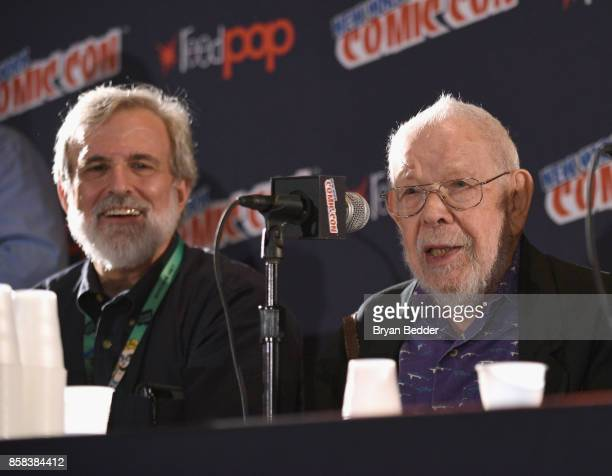 Mad artists and writers Sam Viviano and Al Jaffee attend the Mad Magazine Celebrates 65Year Legacy With Legendary Creative Team Reunion at New York...