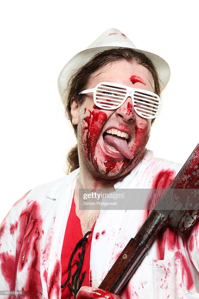 Mad butcher : Stock Photo