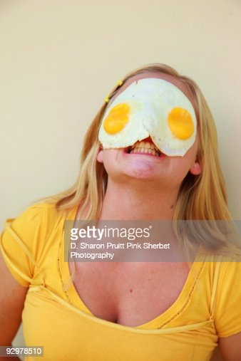 Mad Girl With Fried Eggs On Her Face Stock Photo Getty
