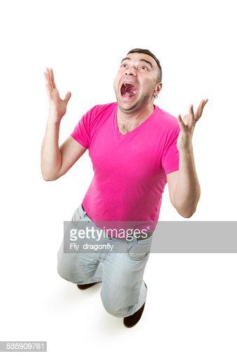 Mad joy jubilation guy : Stock Photo