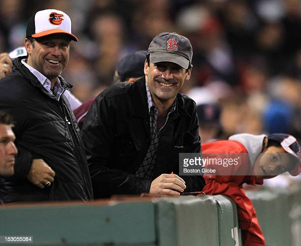 Mad Men actor Jon Hamm watched the game as the Boston Red Sox took on the Baltimore Orioles at Fenway Park