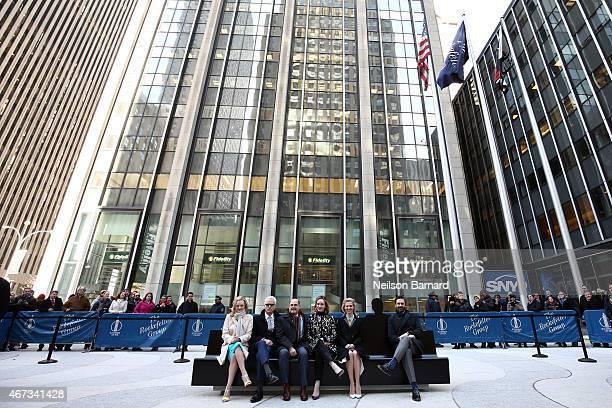 Mad Men cast members Jon Hamm January Jones Elisabeth Moss Christina Hendricks and John Slattery with show creator writer and executive producer...