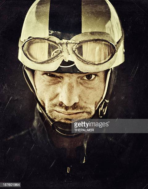 mad motorcyclist with vintage helmet