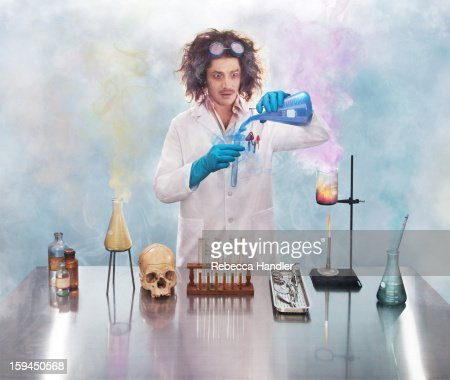 Mad scientist in lab with smoke : Foto de stock