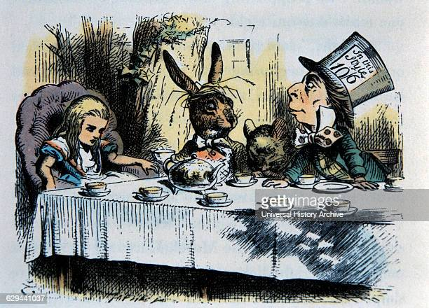 A Mad Tea Party Alice's Adventure in Wonderland by Lewis Carroll HandColored Illustration by John Tenniel circa 1865