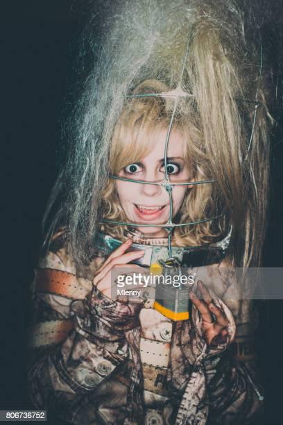 Mad Woman in Straitjacket Claustrophobic Portrait