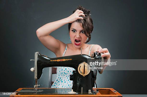 Mad woman with sewing machine