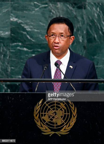 Madagascars President Hery Martial Rajaonarimampianina Rakotoarimanana addresses the 72nd Session of the United Nations General assembly at the UN...