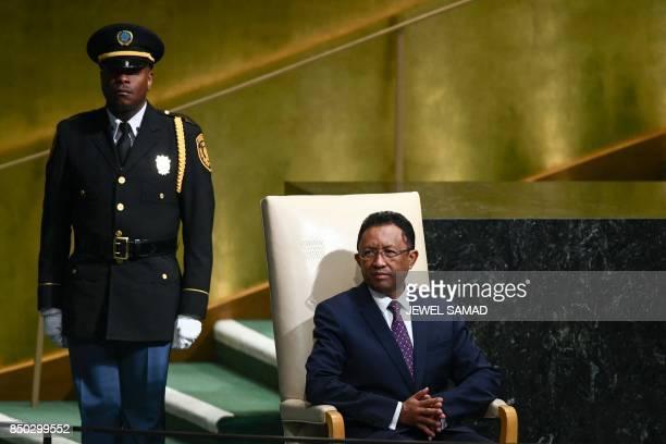 Madagascars President Hery Martial Rajaonarimampianina Rakotoarimanana waits to address the 72nd Session of the United Nations General assembly at...