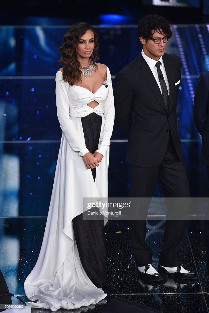 Madalina Ghenea and <a gi-track='captionPersonalityLinkClicked' href=/galleries/search?phrase=Gabriel+Garko&family=editorial&specificpeople=4811088 ng-click='$event.stopPropagation()'>Gabriel Garko</a> attend the third night of the 66th Festival di Sanremo 2016 at Teatro Ariston on February 11, 2016 in Sanremo, Italy.