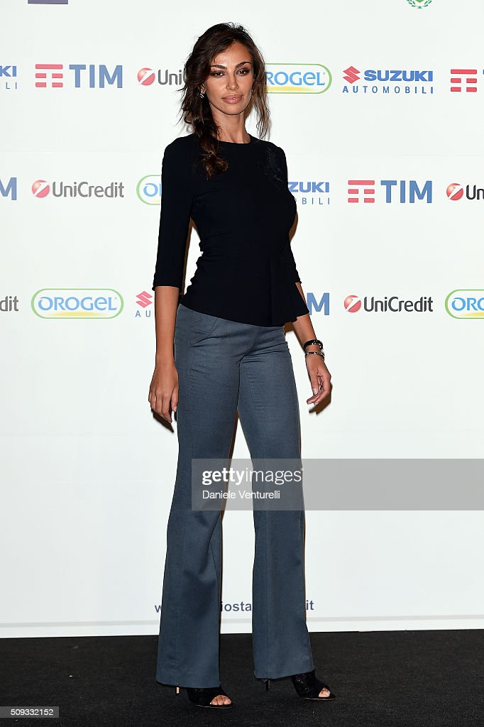 Madalina Ghenea attends a photocall at 66. Sanremo Festival on February 10, 2016 in Sanremo, Italy.
