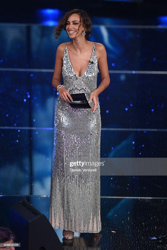 Madalina Ghenea attends the fourth night of the 66th Festival di Sanremo 2016 at Teatro Ariston on February 12, 2016 in Sanremo, Italy.