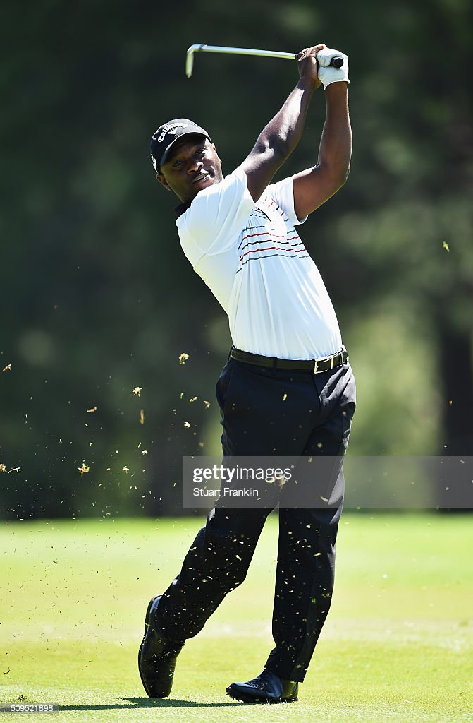 Madalitso Muthiya of Zambia plays a shot during the first round of the Tshwane Open at Pretoria Country Club on February 11, 2016 in Pretoria, South Africa.