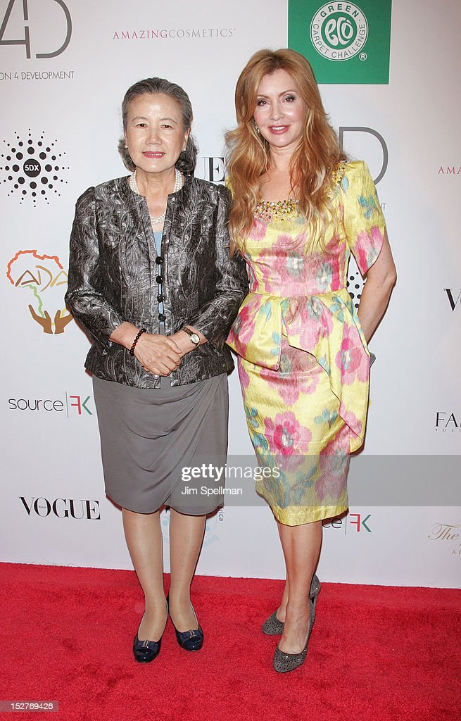 Madam Ban Soon-taek (L) and F4D co-founder Evie Evangelou attend the 2nd Annual Fashion 4 Development First Ladies Luncheon at The Pierre Hotel on September 25, 2012 in New York City.