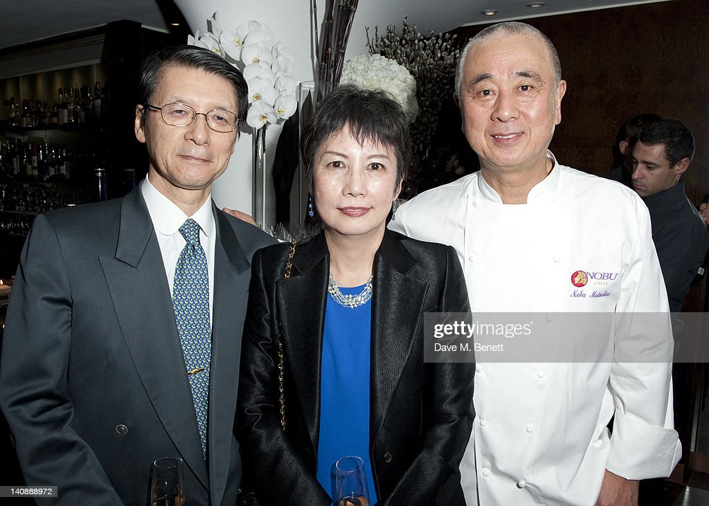 Madam Hyashi, Nobuyuki Mastsuhisa and Ambassador Hayash attend a party to celebrate Nobu London restaurant's 15th anniversary at the Met Bar on March 07, 2012 in London, England.