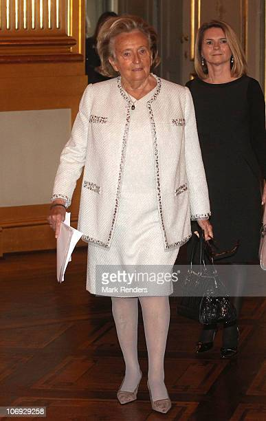 Madame Bernadette Chirac arrives to attend a conference about ' vulnerable children on the run' at The Royal Palace on November 17 2010 in Brussels...