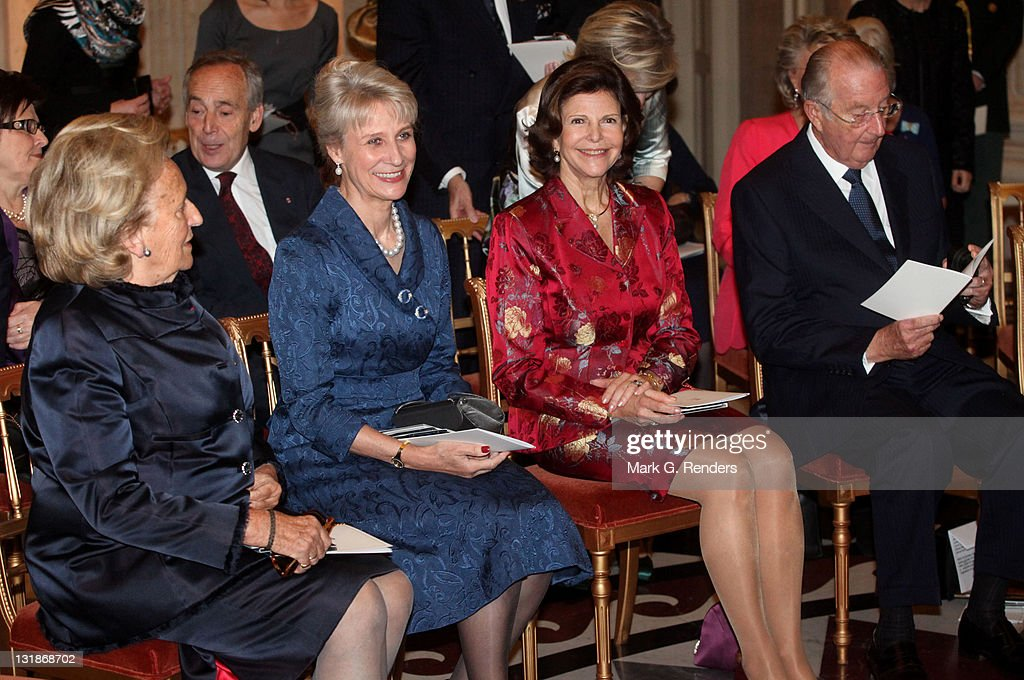 Madame Bernadette Chirac, Her Royal Highness the Duchess of Gloucester, Queen Silvia of Sweden and King Albert of Belgium attend a concert at Laeken Castle at Laeken Castle on November 16, 2010 in Brussels, Belgium.