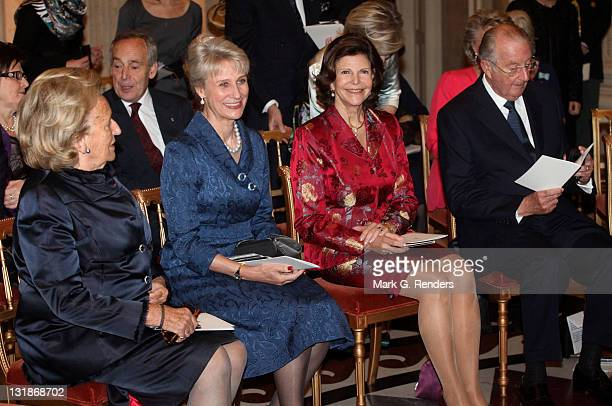 Madame Bernadette Chirac Her Royal Highness the Duchess of Gloucester Queen Silvia of Sweden and King Albert of Belgium attend a concert at Laeken...