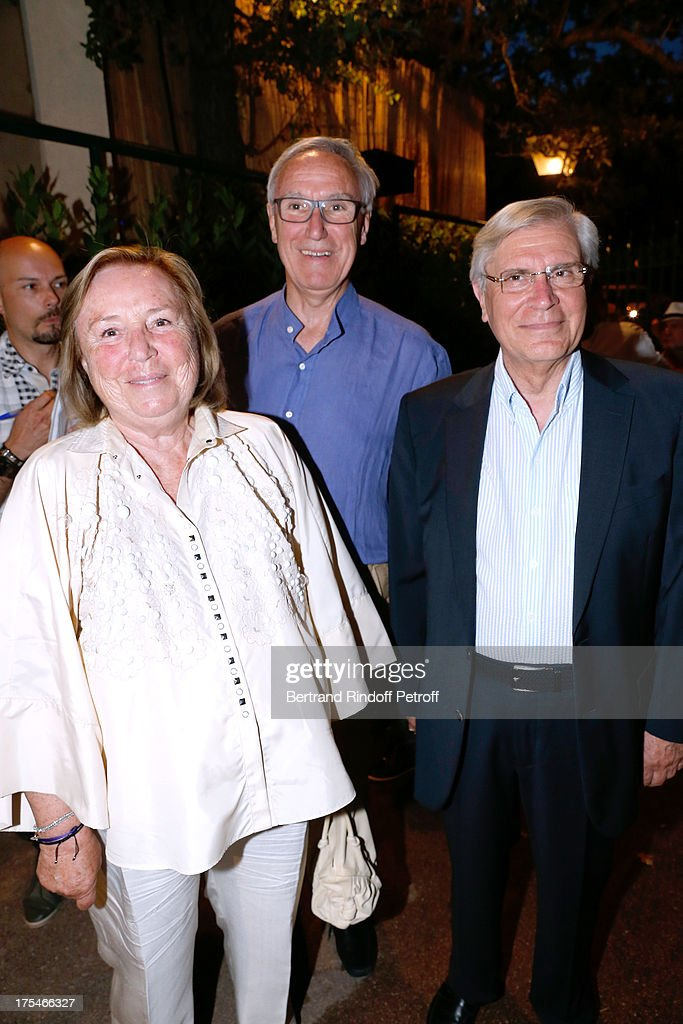 Madame Francois Pinault, her brother Doctor Gerard Campbell and Monseigneur Jean-Michel Di Falco attend 'Pianistic' Concert of singer Julien Clerc at at 29th Ramatuelle Festival : Day 4 on August 3, 2013 in Ramatuelle, France.