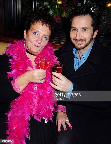 Madame Irene and actor Edouard Baer attend the Madame Irene from the Cafe de Flore Departure Party at Café de Flore on March 31 2010 in Paris France