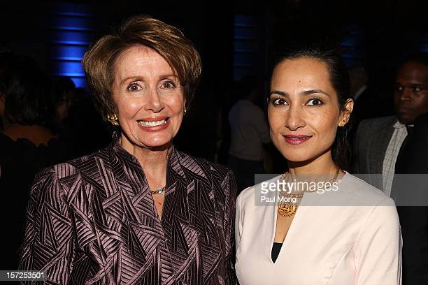 Madame Leader Nancy Pelosi and artist Shahzia Sikander attend Art In Embassies 50th Anniversary Celebration at Smithsonian National Museum Of...
