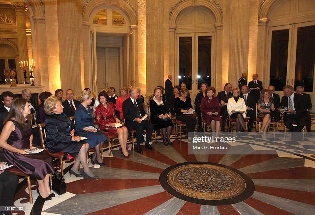 Madame Margerida Barroso, Madame Bernadette Chirac, Her Royal Highness the Duchess of Gloucester, Queen Silvia of Sweden, King Albert of Belgium and Quee Paola of Belgium attend a concert at Laeken Castle at Laeken Castle on November 16, 2010 in Brussels, Belgium.