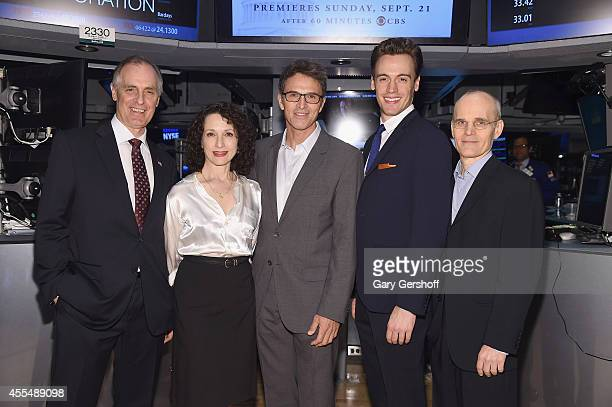 'Madame Secretary' cast members Keith Carradine Bebe Neuwirth Tim Daly Erich Bergen and Zeljko Ivanek pose for pictures after ringing the closing...