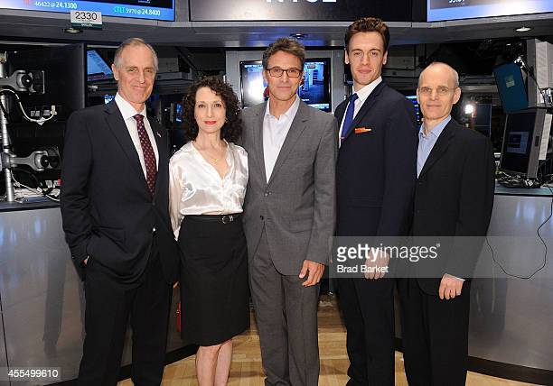 R 'Madame Secretary' cast members Keith Carradine Bebe Neuwirth Tim Daly Erich Bergen and Zeljko Ivanek pose for pictures after ringing the closing...
