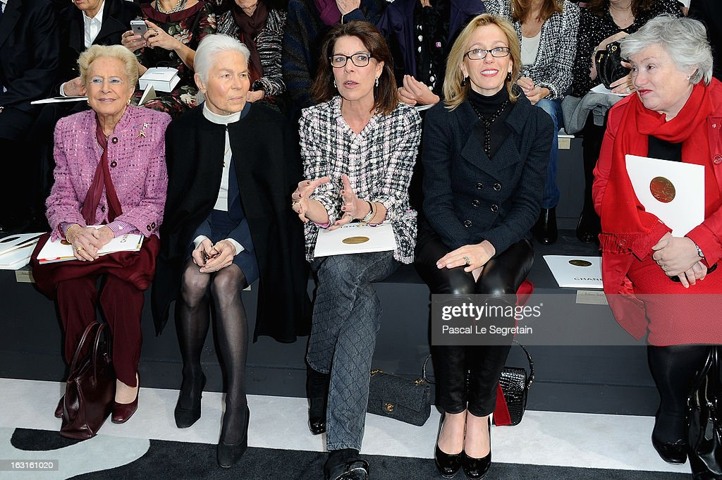 Madame Serge Dassault, Micheline Chaban Delmas, Princess Caroline of Hanover and Micheline Chaban attend the Chanel Fall/Winter 2013 Ready-to-Wear show as part of Paris Fashion Week at Grand Palais on March 5, 2013 in Paris, France.