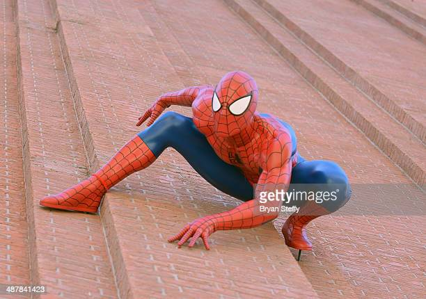 Madame Tussauds debuts SpiderMan the attractions newest super Marvel super hero figure on the Campanile Tower at The Venetian Las Vegas on May 2 2014...