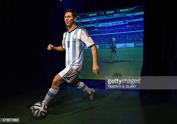 Madame Tussauds New York officially unveils the wax figure of soccer icon and star forward for FC Barcelona Lionel Messi on May 19 2015 at Madame...