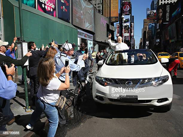 Madame Tussauds New York unveils a neverbeforeseen Pope Francis figure with a tour around New York City in a 'Pope Mobile' to celebrate the Pope's...