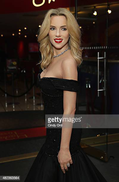 Madame Tussauds New York unveils firstever wax figure of actress Scarlett Johansson on July 30 2015 in New York City