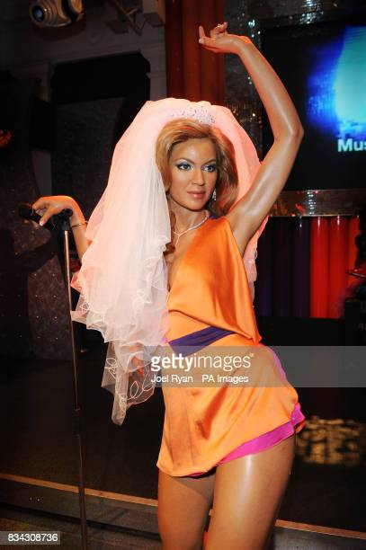 Madame Tussauds reveal a waxwork of Beyonce Knowles dressed in wedding attire to mark her engagement to American hiphop singer JayZ in central London