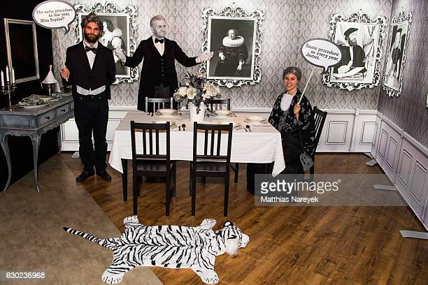 Madame Tussauds unveils a black and white 'Dinner for One' setting containing a wax figure of the former mayor of Berlin Klaus Wowereit at Madame...