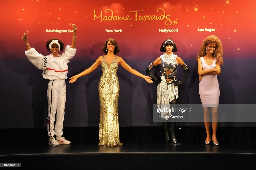 Madame Tussauds unveils four wax figures of <a gi-track='captionPersonalityLinkClicked' href=/galleries/search?phrase=Whitney+Houston&family=editorial&specificpeople=201541 ng-click='$event.stopPropagation()'>Whitney Houston</a>-- the first time four figures of the same individual have been simultaneously released-- on February 7, 2013 in New York City.