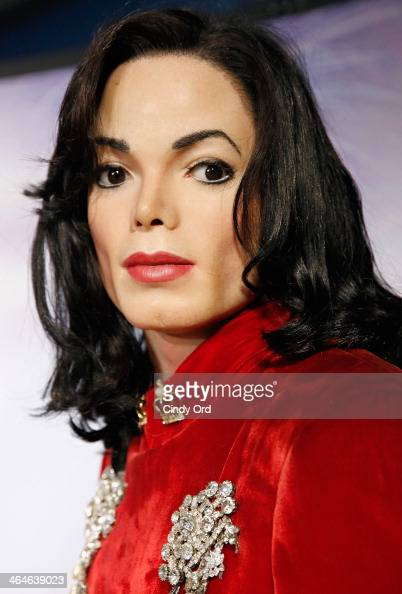 Madame Tussauds wax figure of singer Michael Jackson is on display as Madame Tussauds New York hosts an interactive Super Bowl tailgate and...